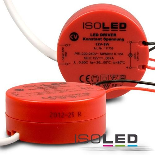 Alimentation LED ISOLED 12VDC 0-8W rund non dimmable