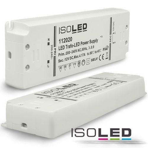 Alimentation LED ISOLED 12VDC 0-50W super fines non dimmable