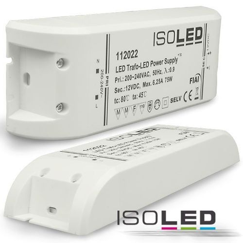 Alimentation LED ISOLED 12VDC 0-75W non dimmable