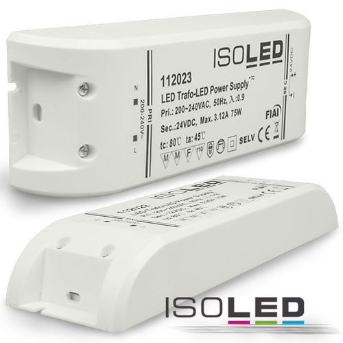 Alimentation LED ISOLED 24VDC 0-75W non dimmable