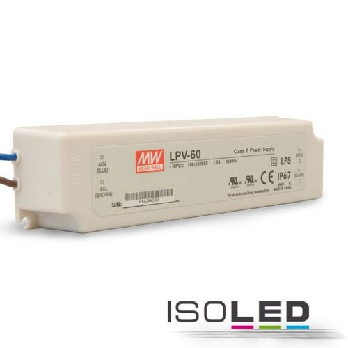 Alimentation LED MEAN WELL LPV-60 12VDC 0-60W IP67 non dimmable
