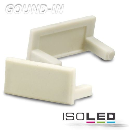 Embout PVC argent pour profilé ISOLED GROUND-IN