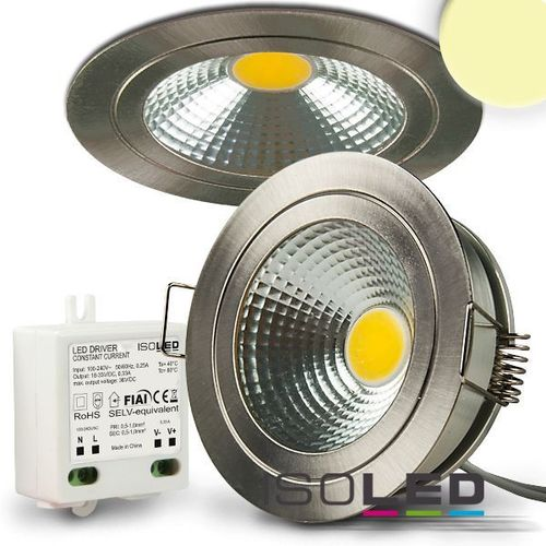 LED Einbaustrahler COB 69mm Nickel geb. ISOLED 5W (ca. 40W) warmweiss