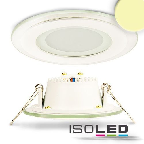 LED Glas Downlight 98mm weiss ISOLED 6W (ca. 40W) warmweiss