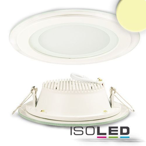 LED Glas Downlight 158mm weiss ISOLED 12W (ca. 75W) warmweiss