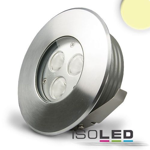 LED Bodeneinbaustrahler IP67 ISOLED 3x2W (ca. 25W) warmweiss